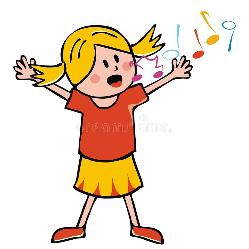 Notas cantantes de la muchacha y de la música, EPS ilustración del vector