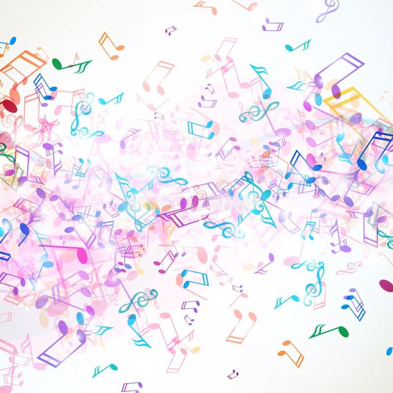 Notas coloridas da música ilustração royalty free