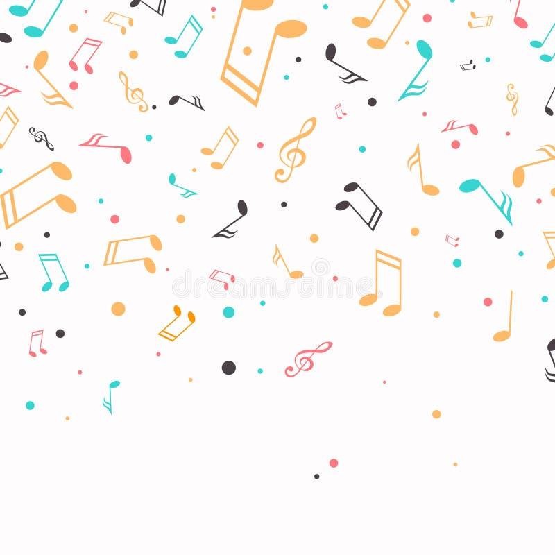 Notas coloridas da música ilustração do vetor