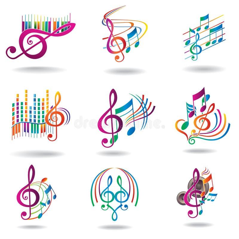 Notas coloridas da música. Jogo de elementos do projeto da música ilustração royalty free