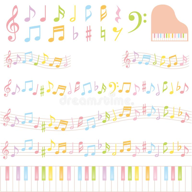 Notas coloridas de la música ilustración del vector
