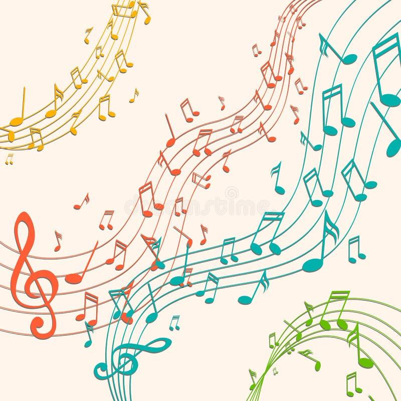 Notas coloridas de la música stock de ilustración