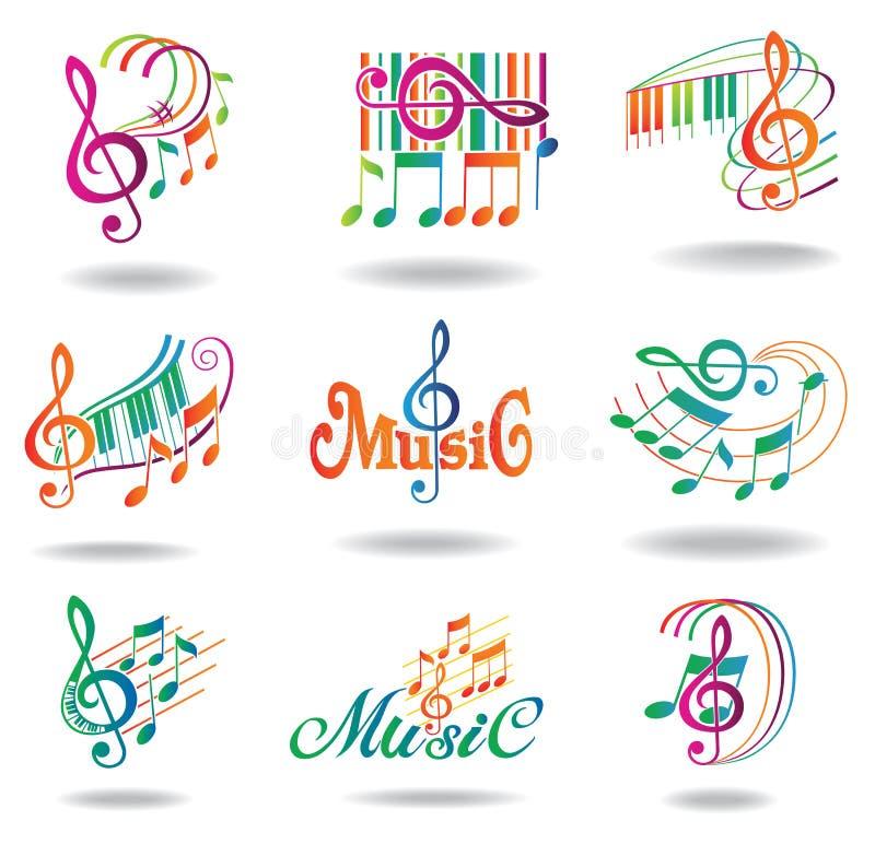 Notas coloridas de la música. Conjunto de elementos del diseño de la música libre illustration