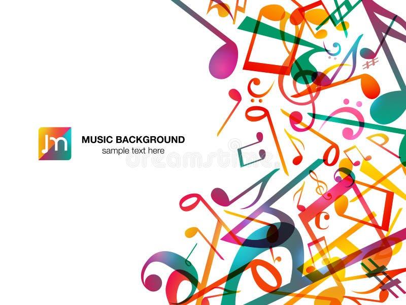 Notas coloridas de la música Fondo del extracto del ejemplo del vector stock de ilustración