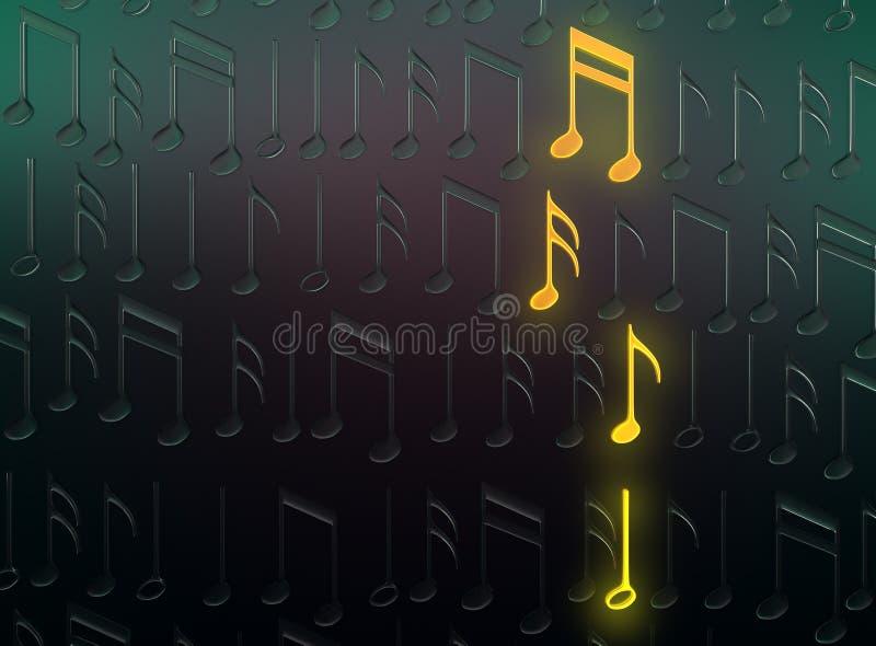 Notas coloridas de la música que brillan intensamente sobre el ejemplo negro del extracto 3d del fondo stock de ilustración