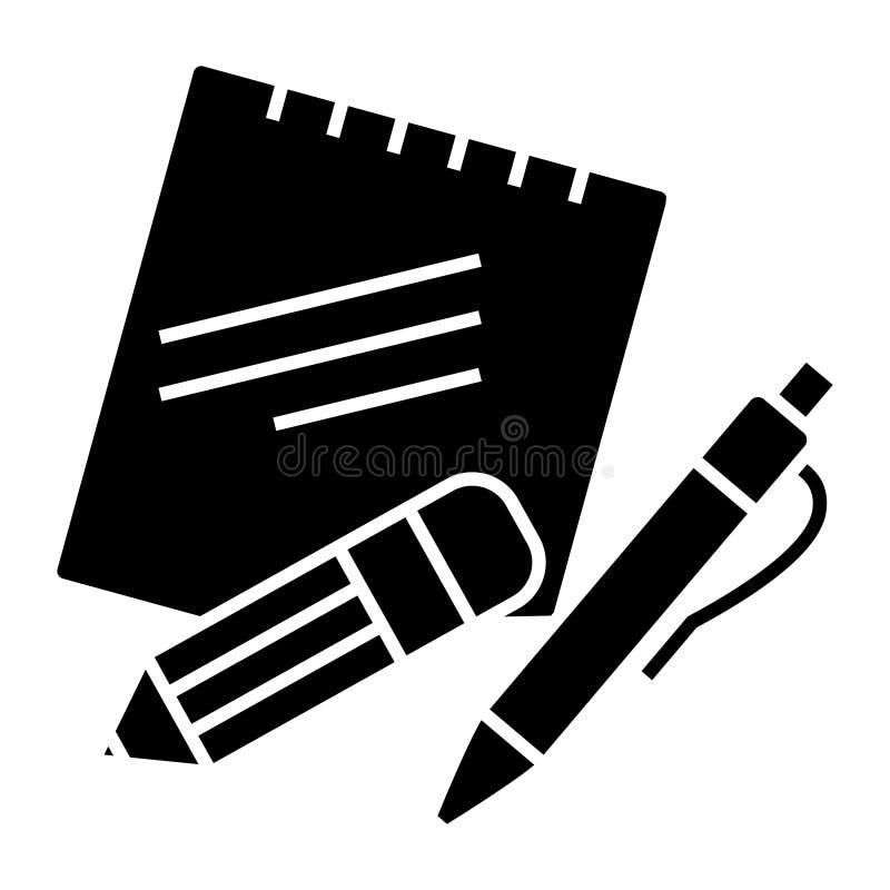 Notas con el icono de la pluma y del lápiz, ejemplo del vector, muestra negra en fondo aislado ilustración del vector