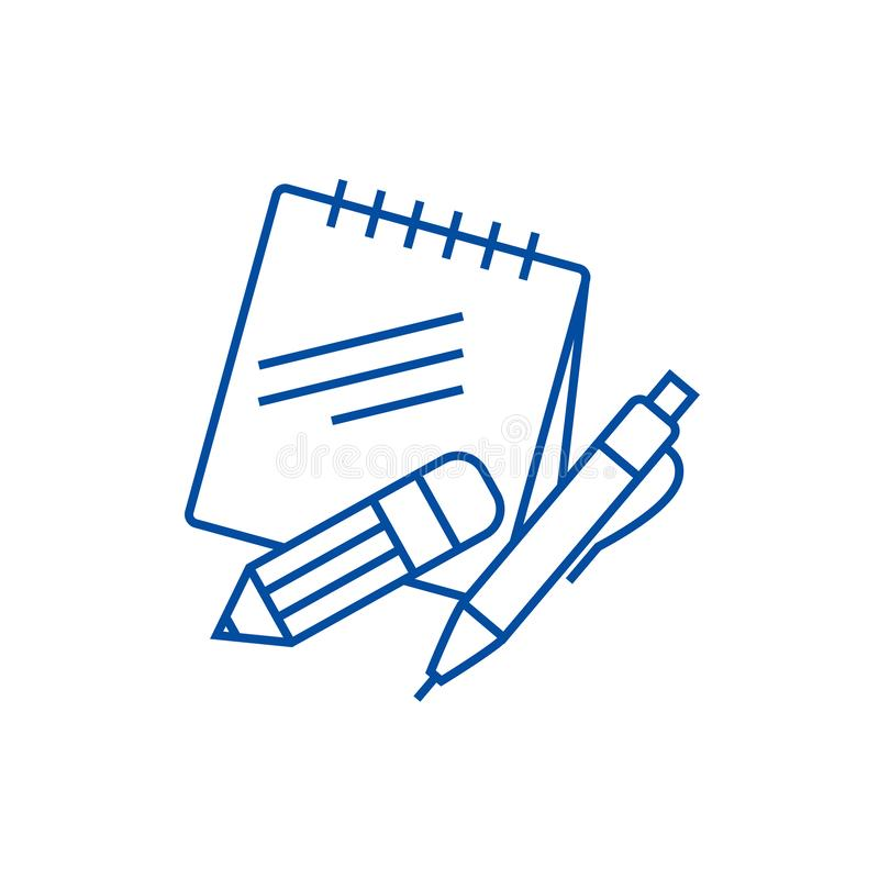 Notas con la línea concepto de la pluma y del lápiz del icono Notas con el símbolo plano del vector de la pluma y del lápiz, mues ilustración del vector