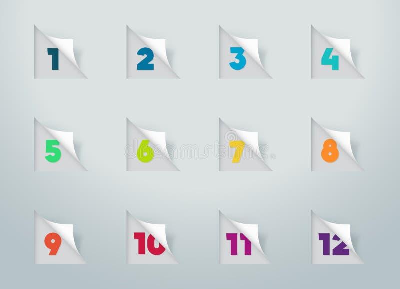 Notas cortadas do papel quadrado com números para o calendário 1 a 12 a ilustração do vetor
