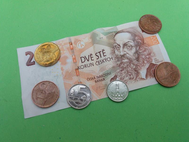 Notas da coroa e moedas checas, Rep?blica Checa foto de stock