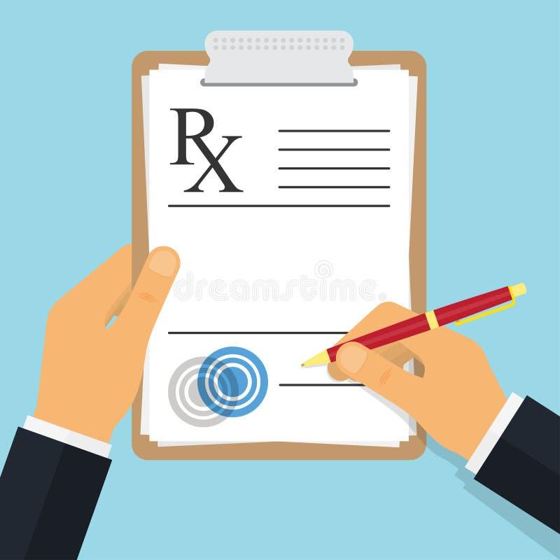 Notas da escrita do doutor em uma almofada da prescrição ilustração stock