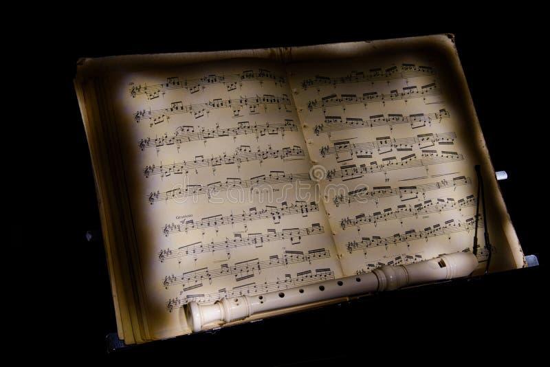 Notas da flauta do resto da música imagens de stock royalty free