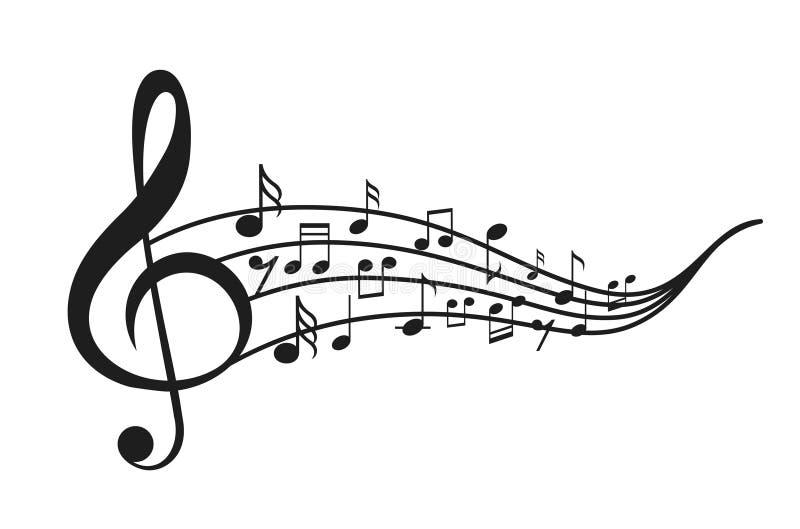 Notas da música com ondas ilustração do vetor