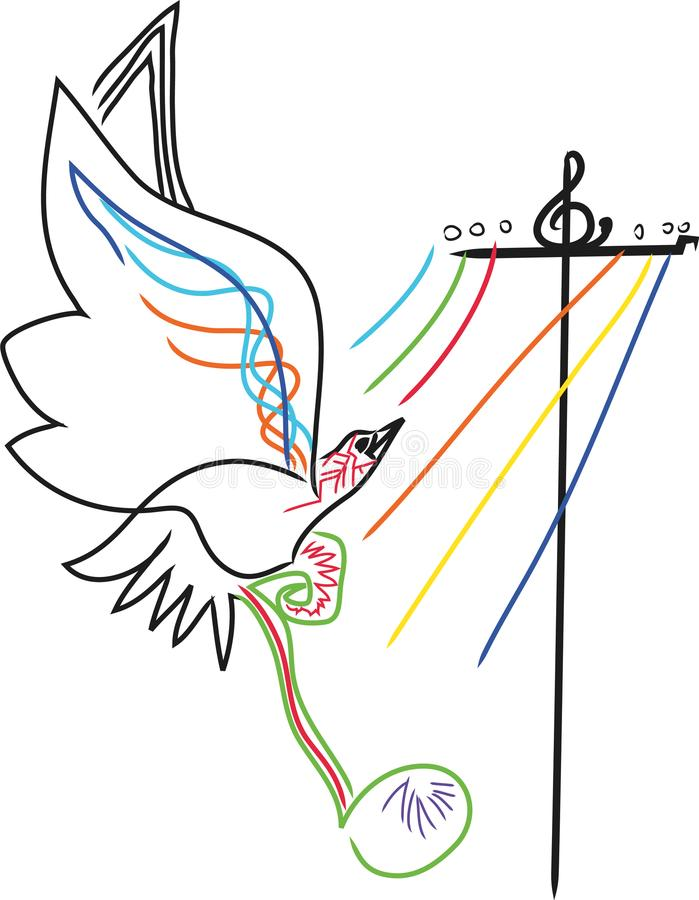 Notas da música com pássaros ilustração royalty free