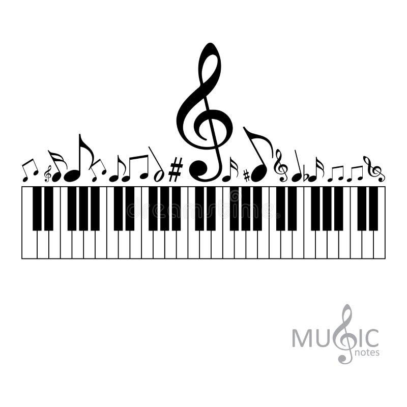 Notas da música com teclado de piano ilustração royalty free
