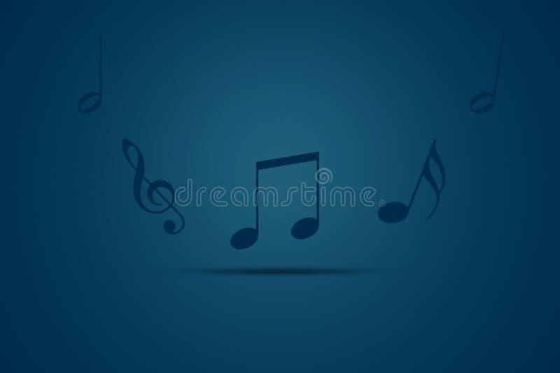 Notas da música de dança em um fundo azul ilustração stock