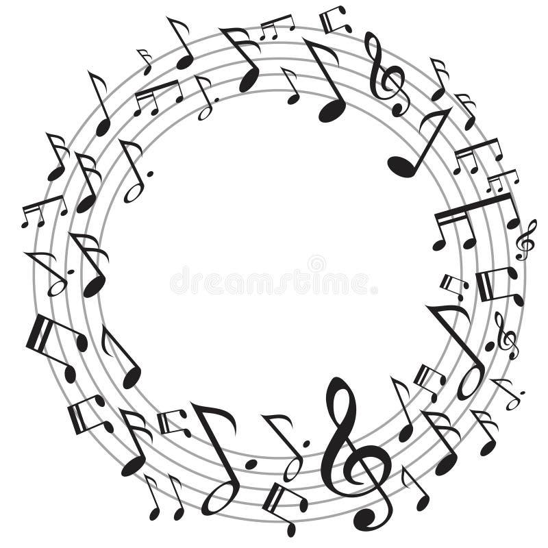 Notas da música do círculo ilustração do vetor