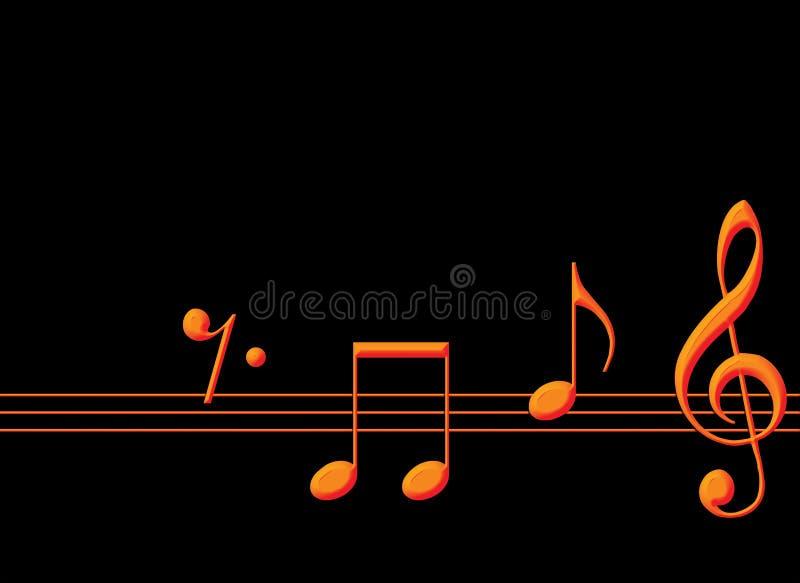Notas da música do ouro fotografia de stock