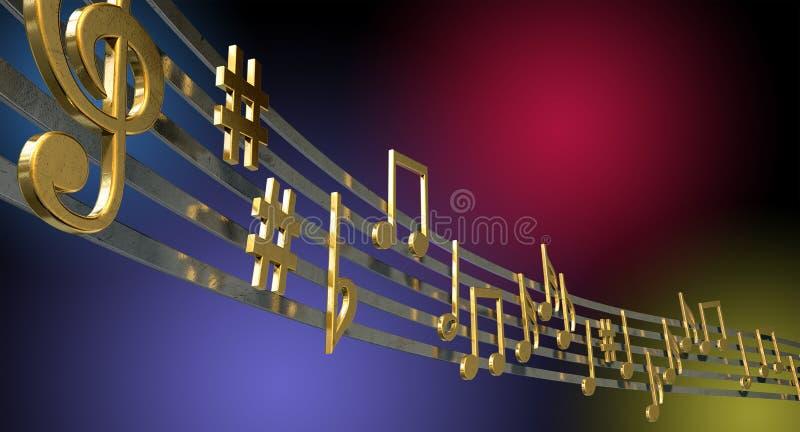Notas da música do ouro em linhas onduladas fotografia de stock
