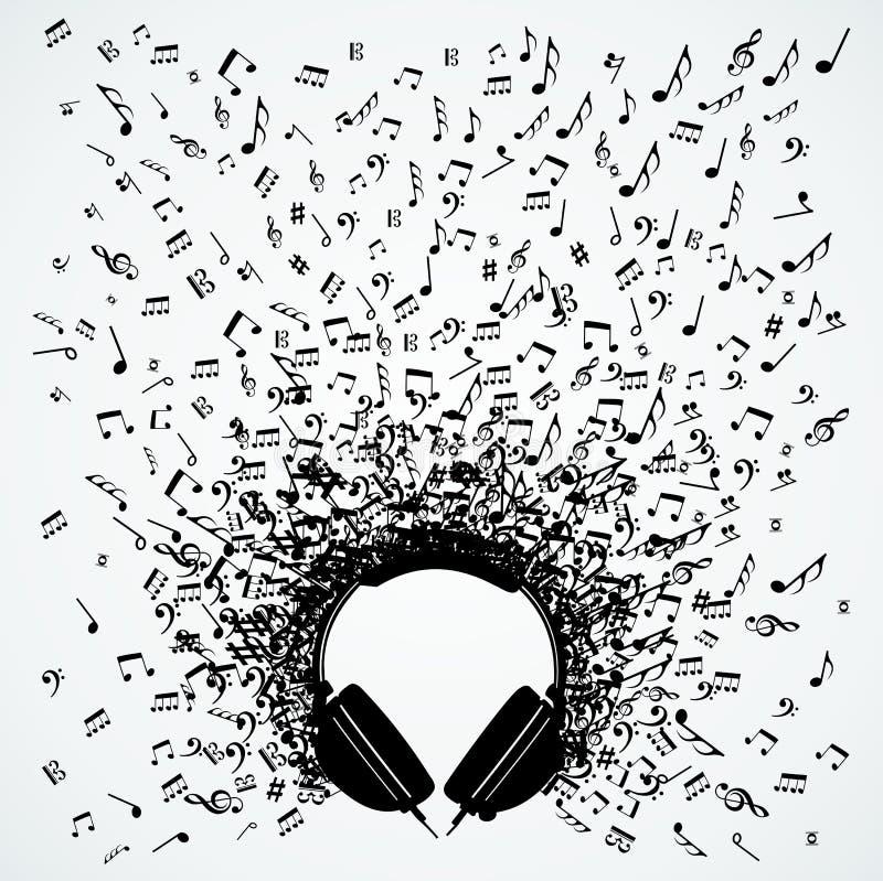 Notas da música do projeto isolado auscultadores ilustração royalty free