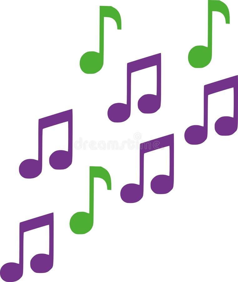 Notas da música do verde e do lila ilustração do vetor