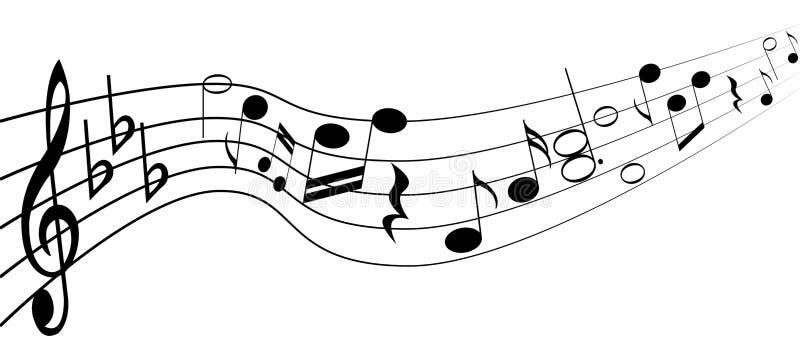 Notas da música em uma pauta musical Vetor do EPS 10 ilustração stock