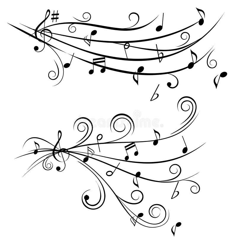 Notas da música na equipe de funcionários ilustração royalty free