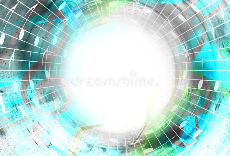 Notas da música no espaço com estrelas Fundo abstrato da cor Conceito da música Copie o espaço ilustração royalty free