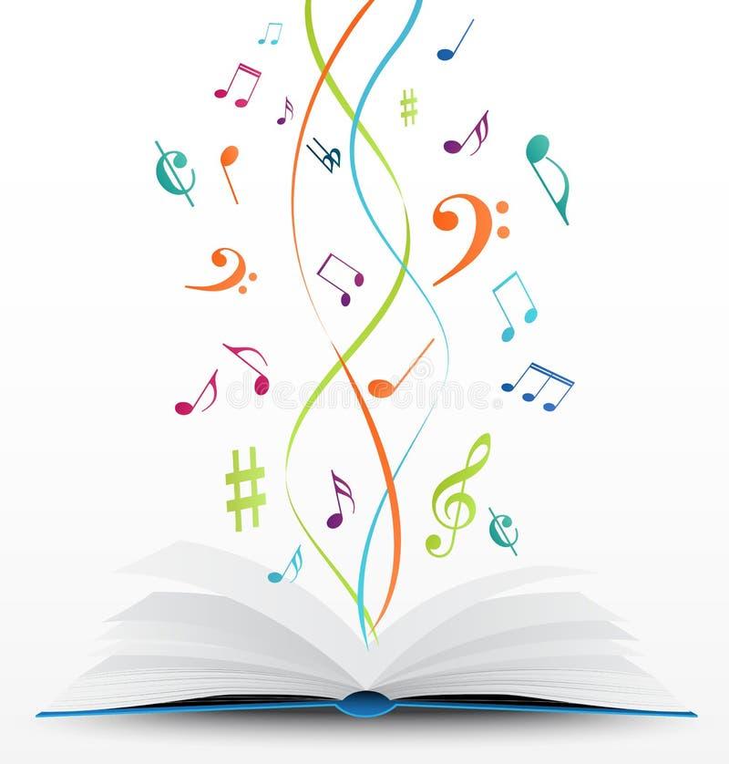 Notas da música no fundo aberto do livro ilustração royalty free