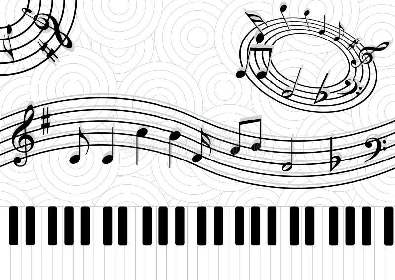 Notas da música no fundo do abstact ilustração stock
