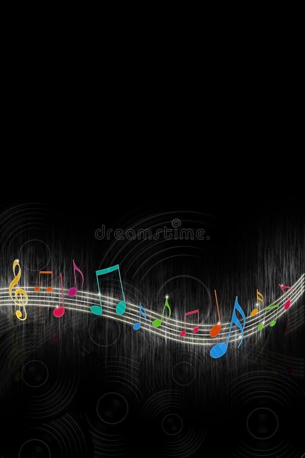 Notas da música no preto ilustração royalty free