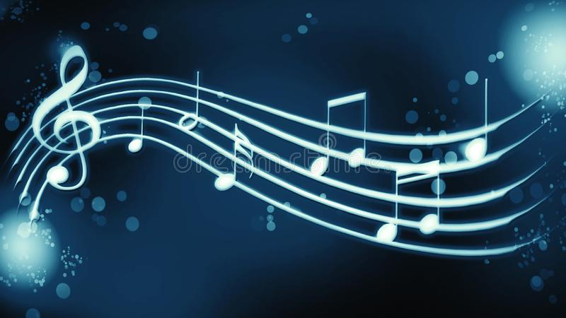 Notas da melodia do fundo na cor azul ilustração stock