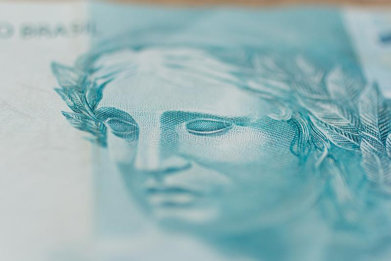 Notas da moeda real, brasileira Dinheiro de Brasil retrato o foto de stock royalty free