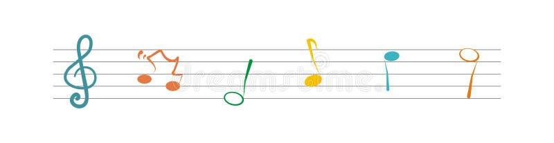 Notas da pauta musical e da música, bandeira, ícone do vetor ilustração do vetor