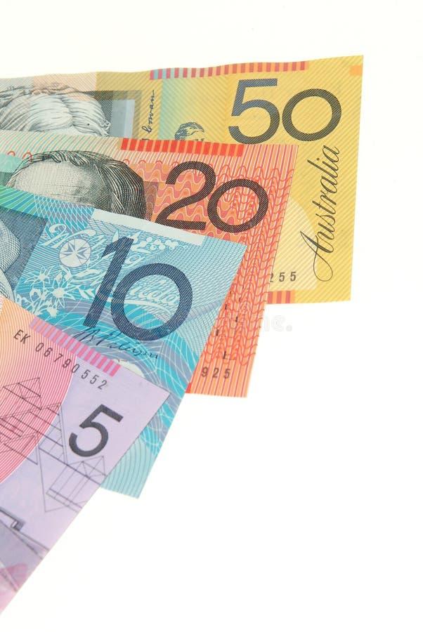 Notas de banco australianas fotografia de stock royalty free