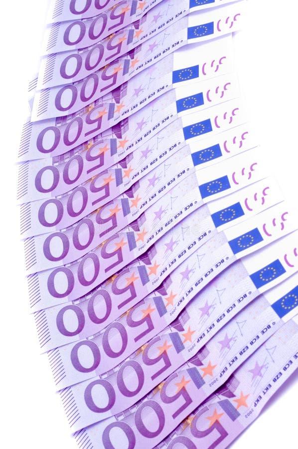Notas de banco do euro fotos de stock