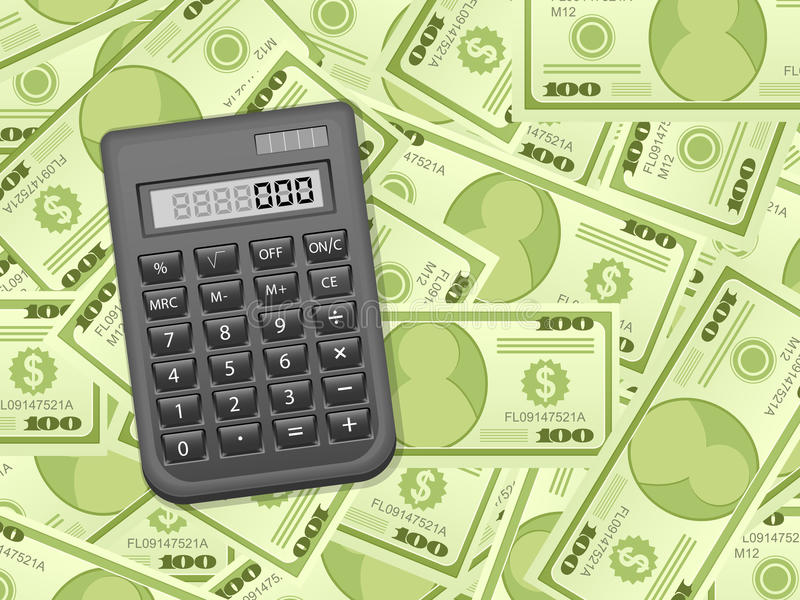 Notas de banco e calculadora do dólar ilustração stock