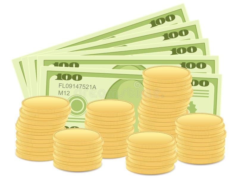 Notas de banco e moedas do dólar ilustração stock