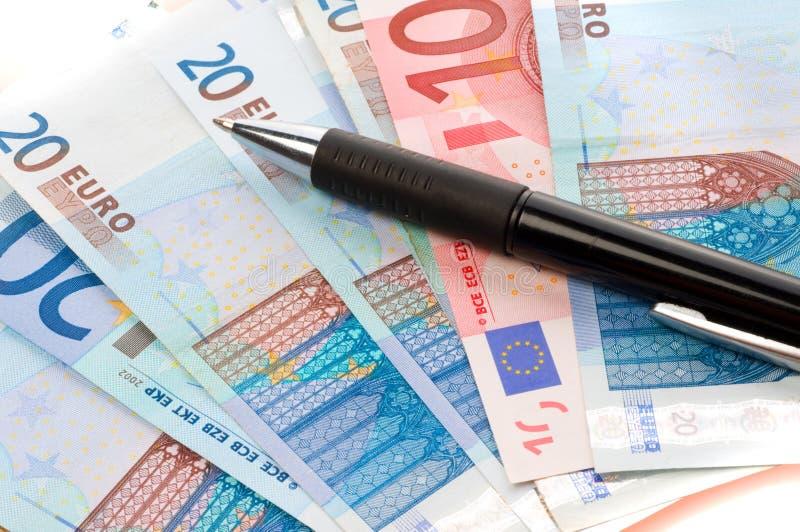 Notas de banco européias da moeda imagens de stock