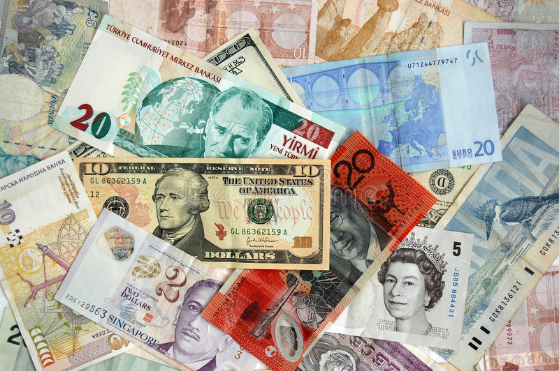 Notas de banco internacionais imagens de stock