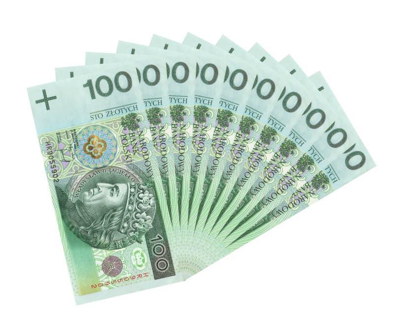 Notas de banco polonesas do dinheiro, correcção de programa de grampeamento fotografia de stock