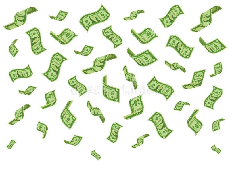 Notas de banco de queda As denominações do dinheiro da riqueza chovem, notas de dólar de queda e chovendo dólares vector o concei ilustração do vetor