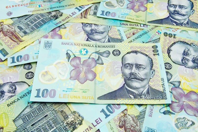 Notas de banco romenas foto de stock royalty free