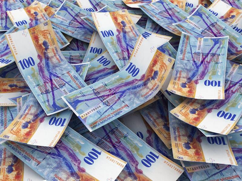 Notas de banco suíças da moeda fotos de stock
