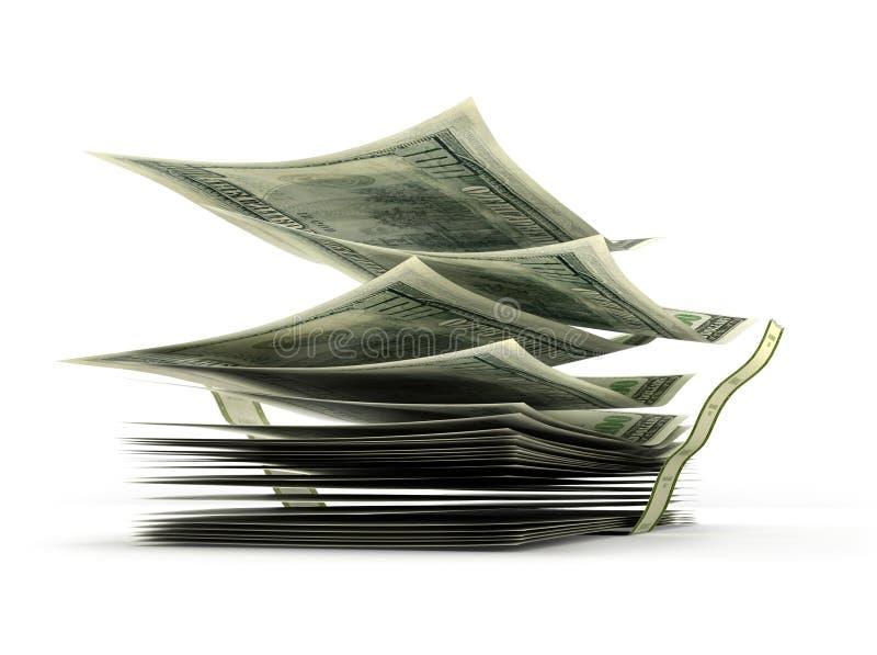 Notas de dólar do voo na pilha, ilustração do vetor