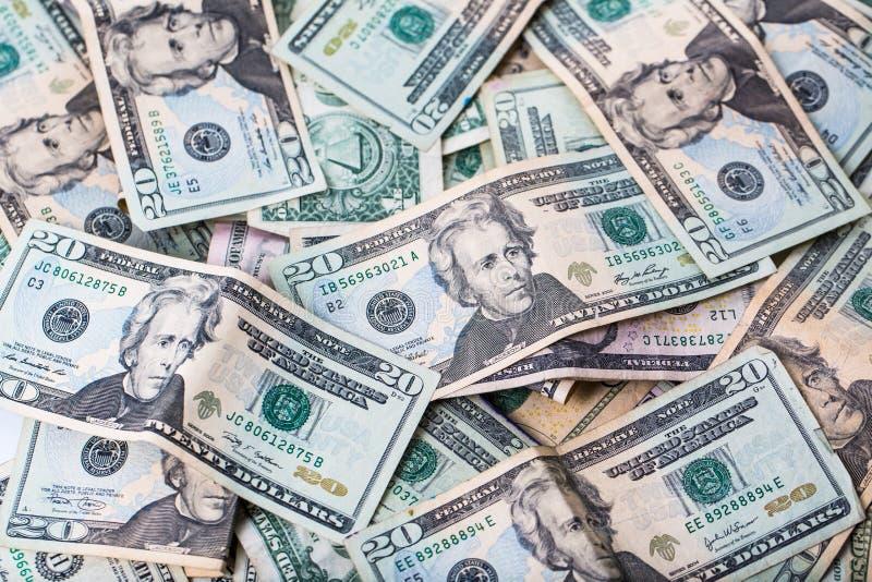 Notas de dólar dos E.U. vinte imagem de stock