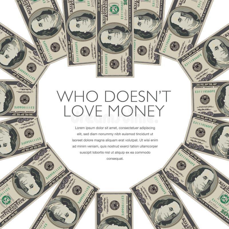 100 notas de dólar formam um coração ilustração stock