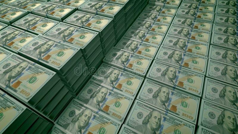 100 notas de dólar nos blocos em um depósito bancário ilustração do vetor