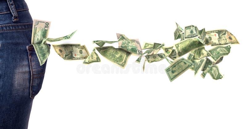 Notas de dólar que caem fora do bolso fotos de stock