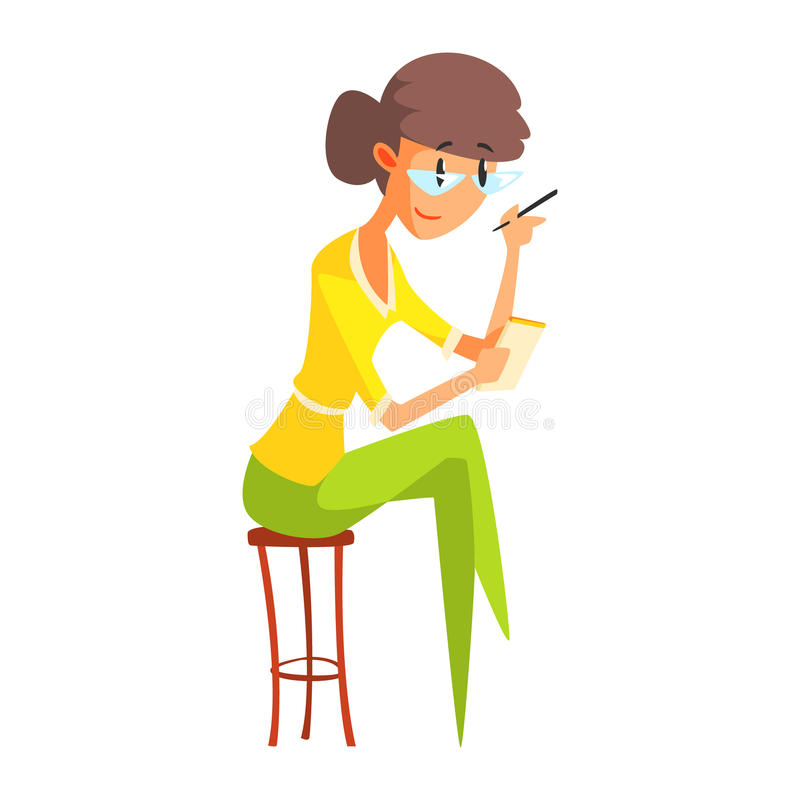 Notas de In Glasses Taking do journalista, repórter oficial Working da imprensa, recolhendo a informação e fazendo a notícia, par ilustração stock