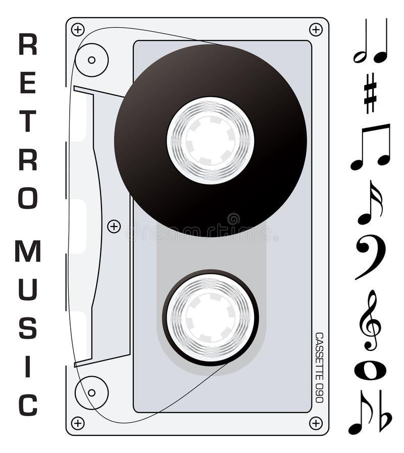 Notas de la cinta de cassette stock de ilustración
